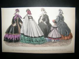 Englishwoman's Domestic Magazine 1862 Hand Col Fashion Print. October
